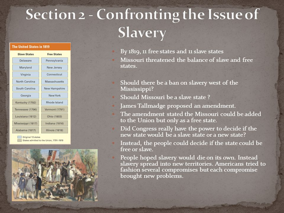 Section 2 - Confronting the Issue of Slavery