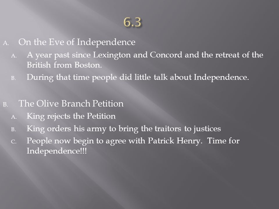 6.3 On the Eve of Independence The Olive Branch Petition