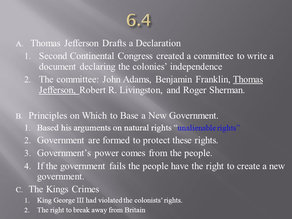 6.4 Thomas Jefferson Drafts a Declaration