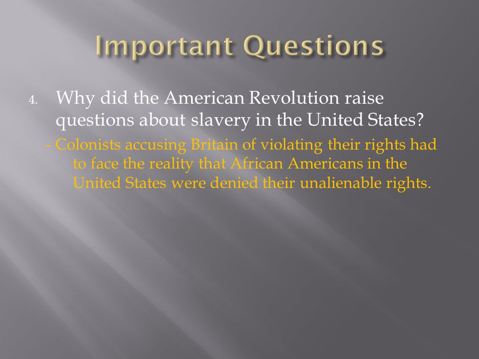 Important Questions Why did the American Revolution raise questions about slavery in the United States