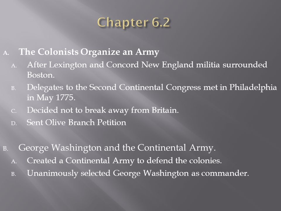 Chapter 6.2 The Colonists Organize an Army