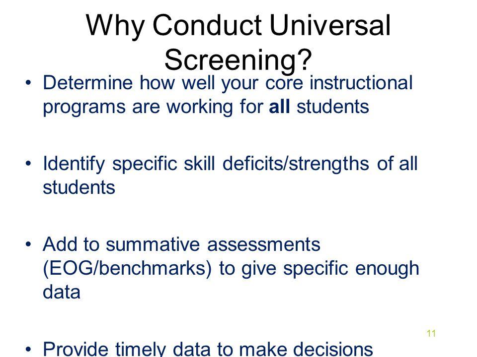 Why Conduct Universal Screening