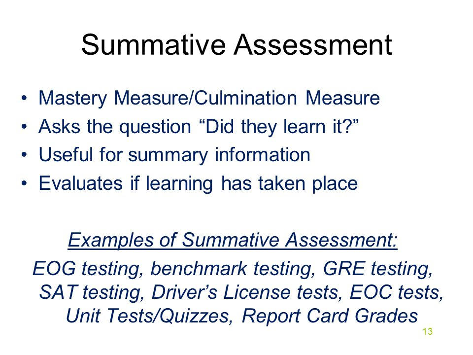 Examples of Summative Assessment: