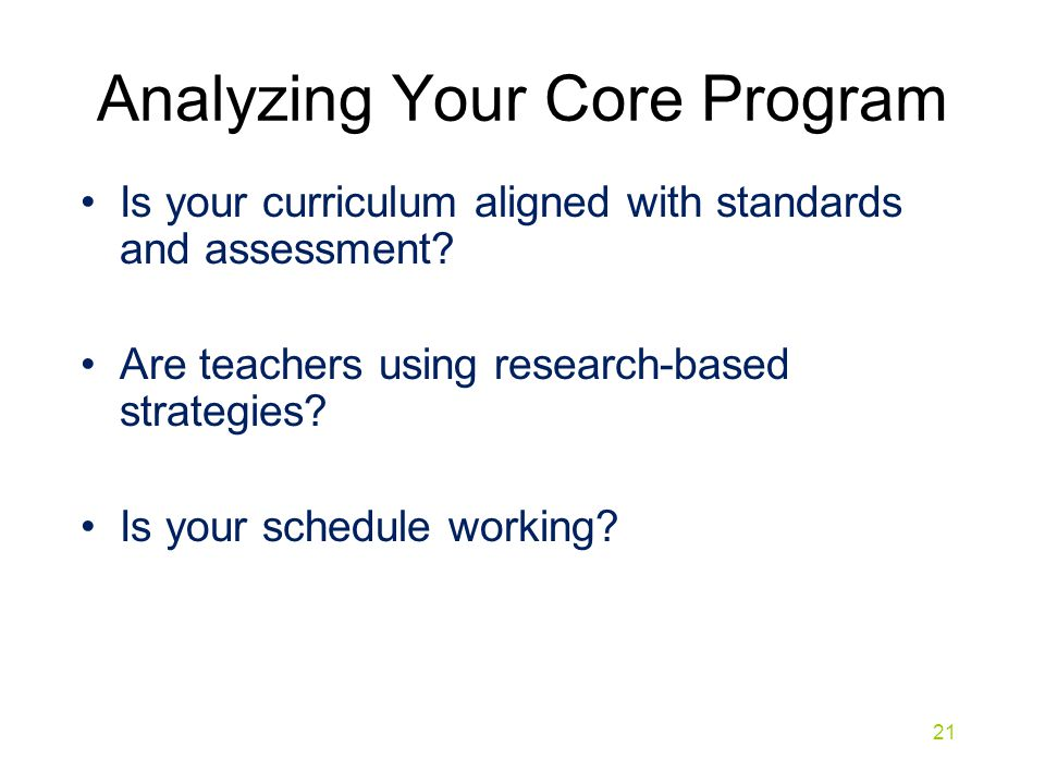 Analyzing Your Core Program