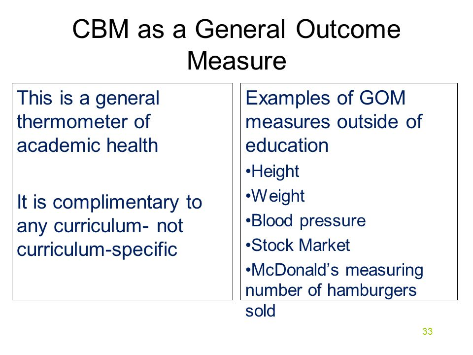 CBM as a General Outcome Measure