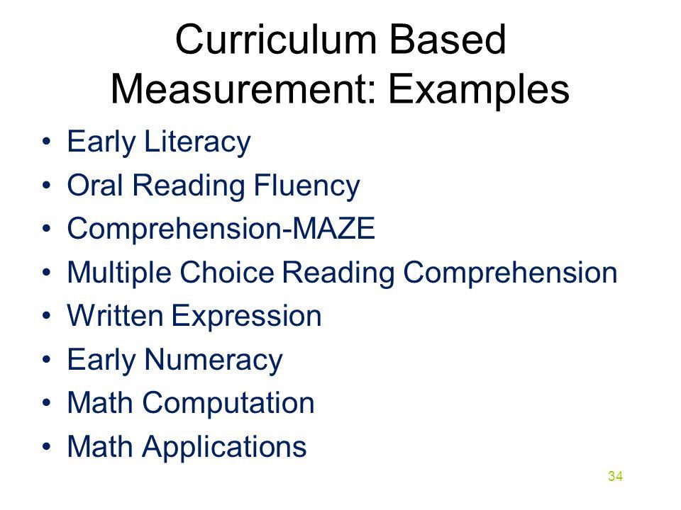 Curriculum Based Measurement: Examples