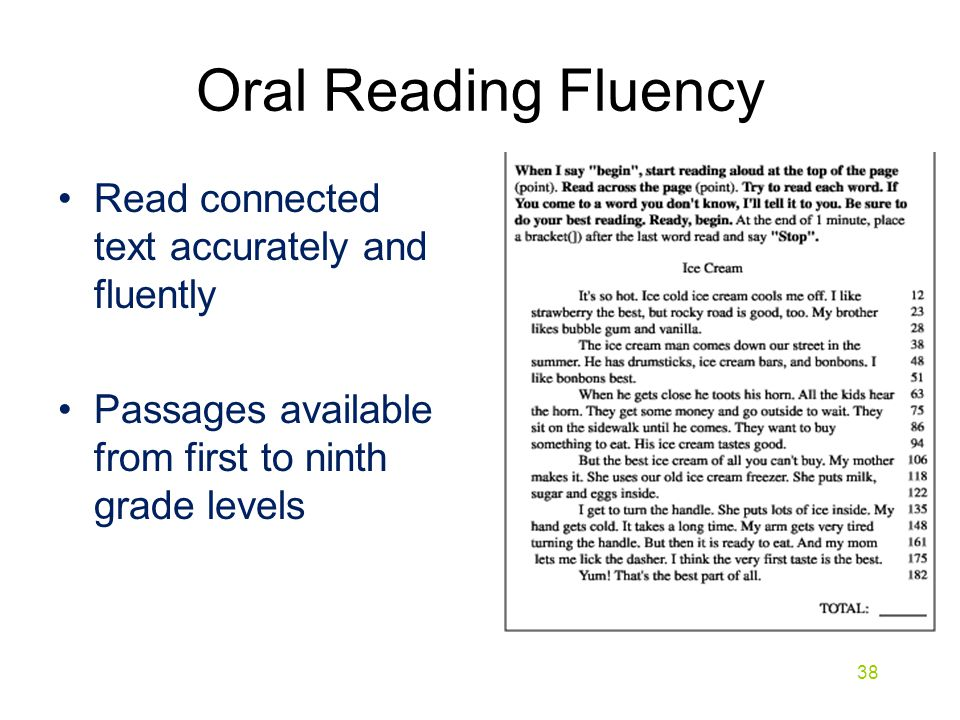 Oral Reading Fluency Read connected text accurately and fluently