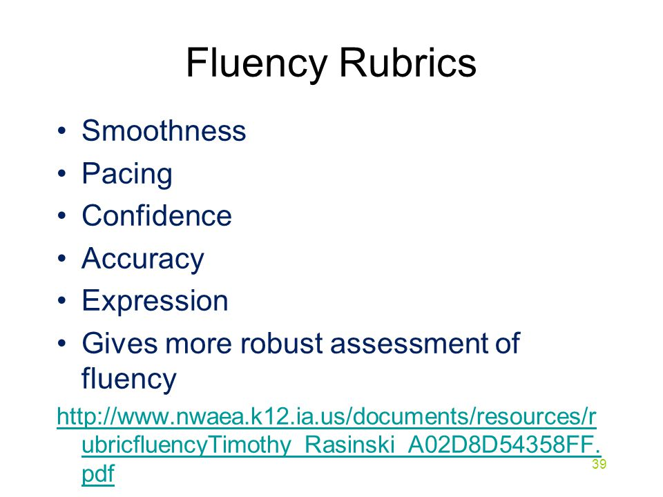 Fluency Rubrics Smoothness Pacing Confidence Accuracy Expression