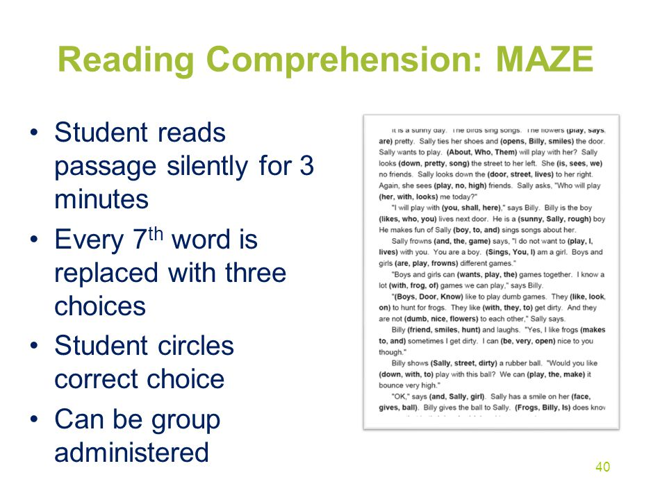Reading Comprehension: MAZE