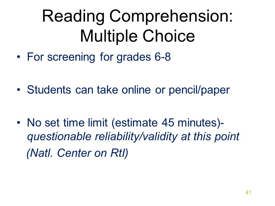 Reading Comprehension: Multiple Choice