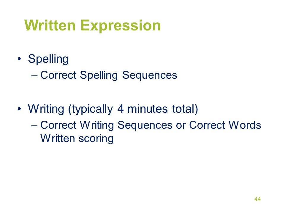 Written Expression Spelling Writing (typically 4 minutes total)