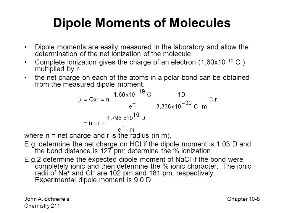 Dipole Moments of Molecules