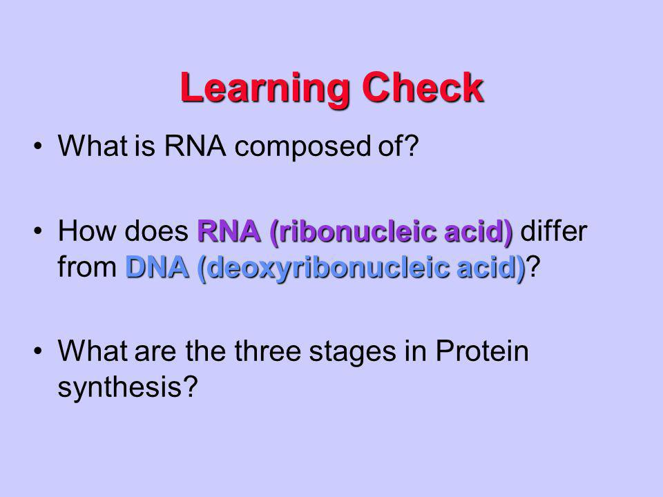 Learning Check What is RNA composed of