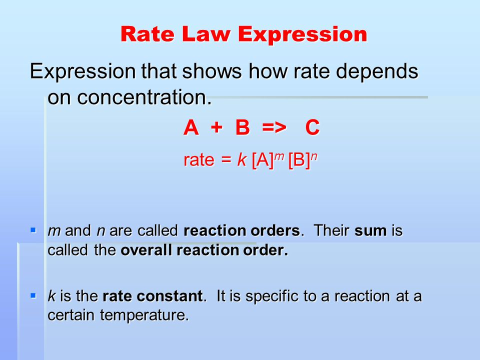 Expression that shows how rate depends on concentration. A + B => C