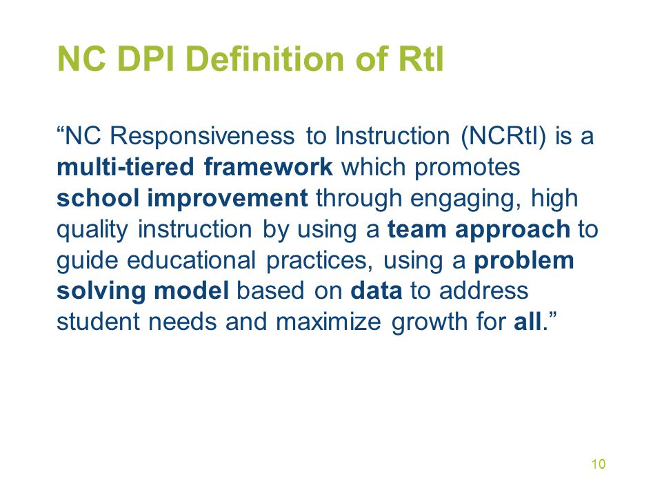 NC DPI Definition of RtI