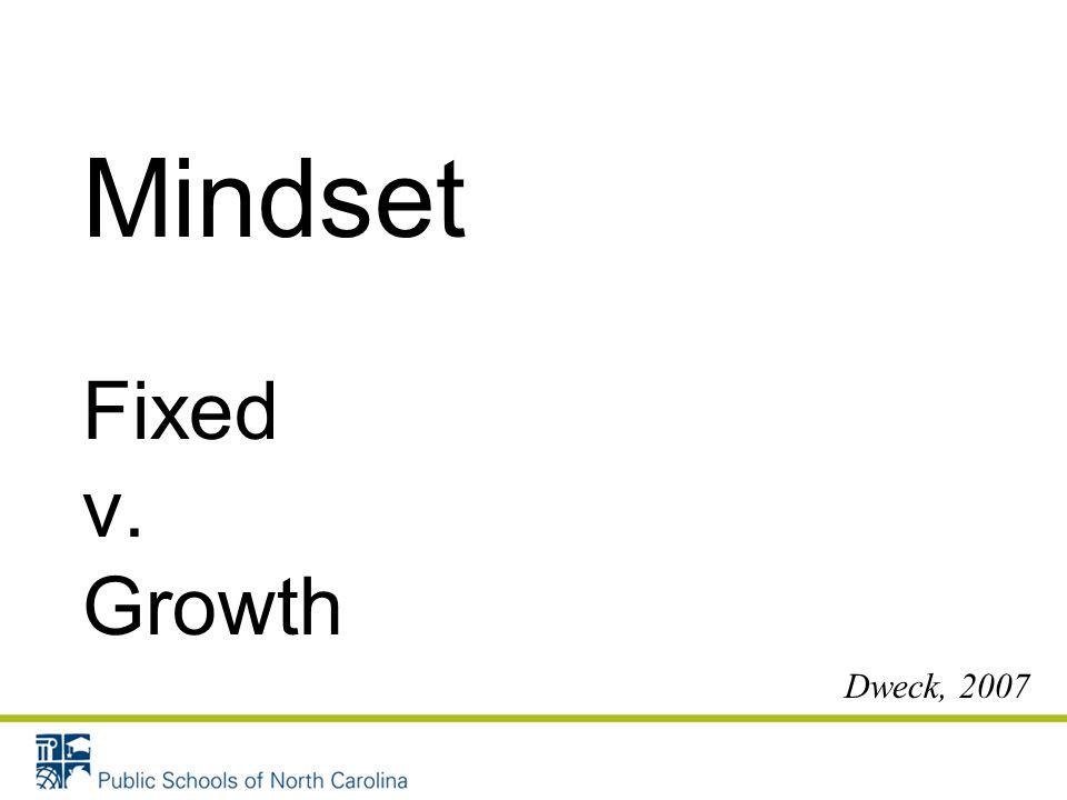 Mindset Fixed v. Growth Dweck, 2007 26
