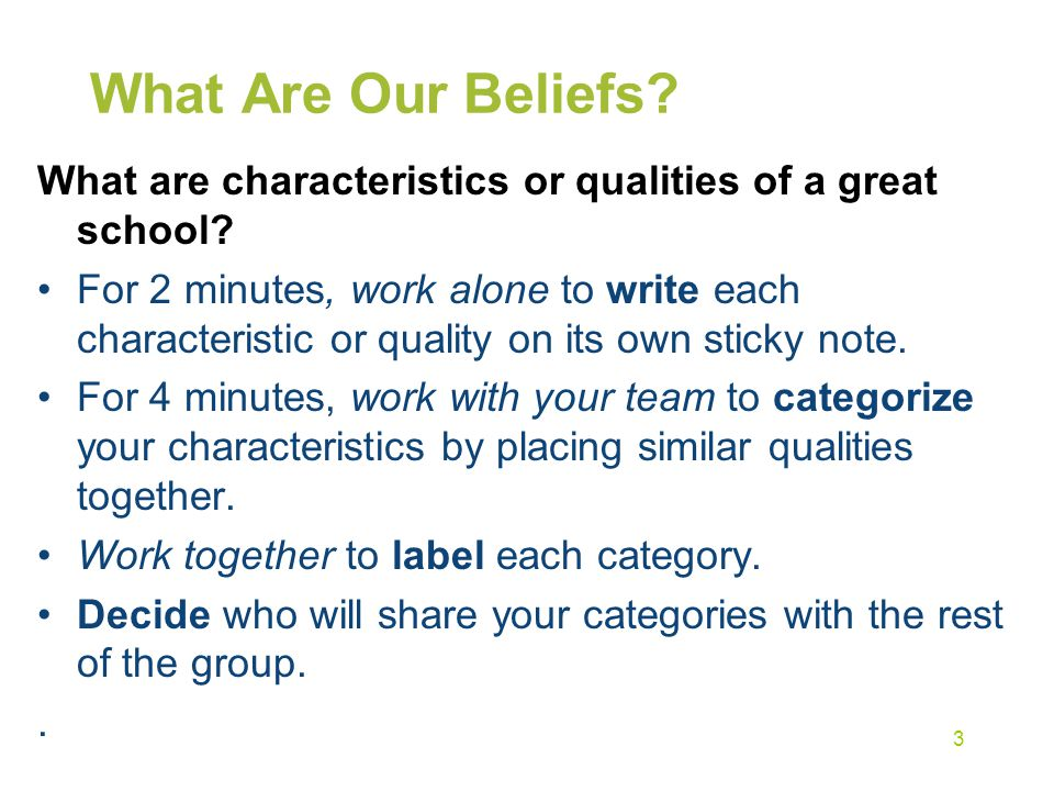 What Are Our Beliefs What are characteristics or qualities of a great school