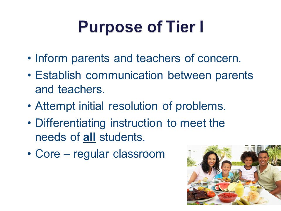 Purpose of Tier I Inform parents and teachers of concern.