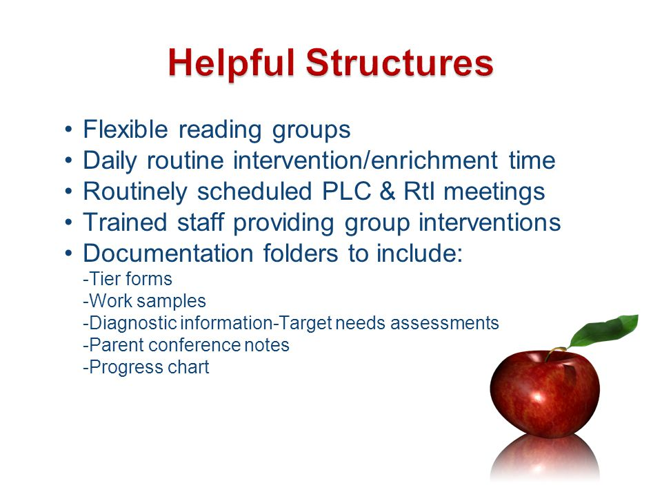 Helpful Structures Flexible reading groups