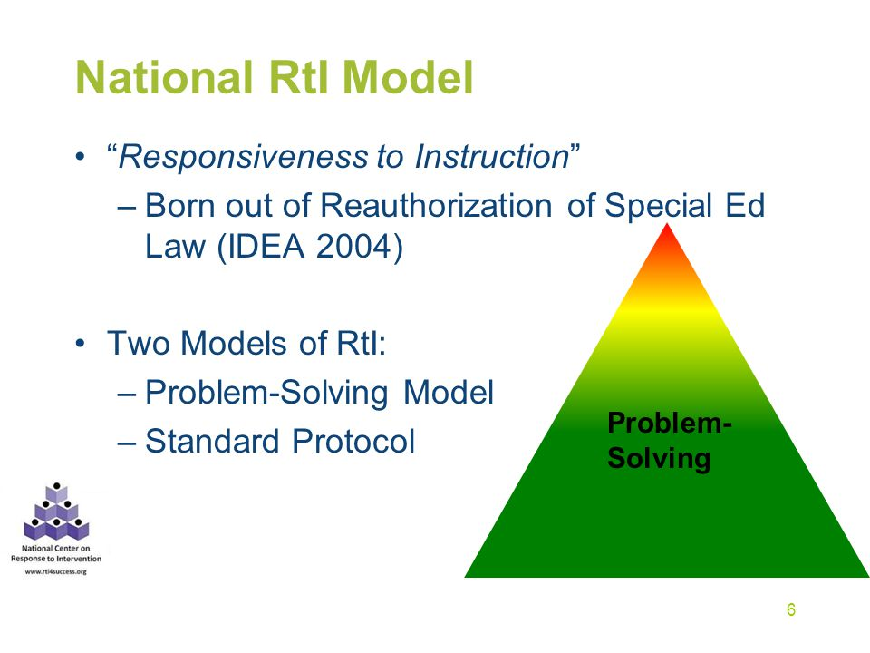 National RtI Model Responsiveness to Instruction