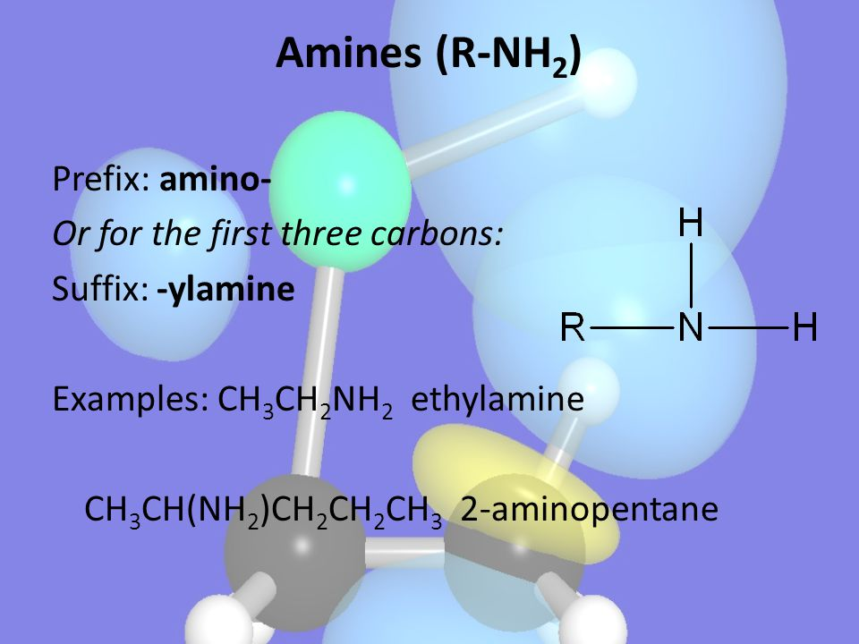 Amines (R-NH2) Prefix: amino- Or for the first three carbons: Suffix: -ylamine Examples: CH3CH2NH2 ethylamine CH3CH(NH2)CH2CH2CH3 2-aminopentane