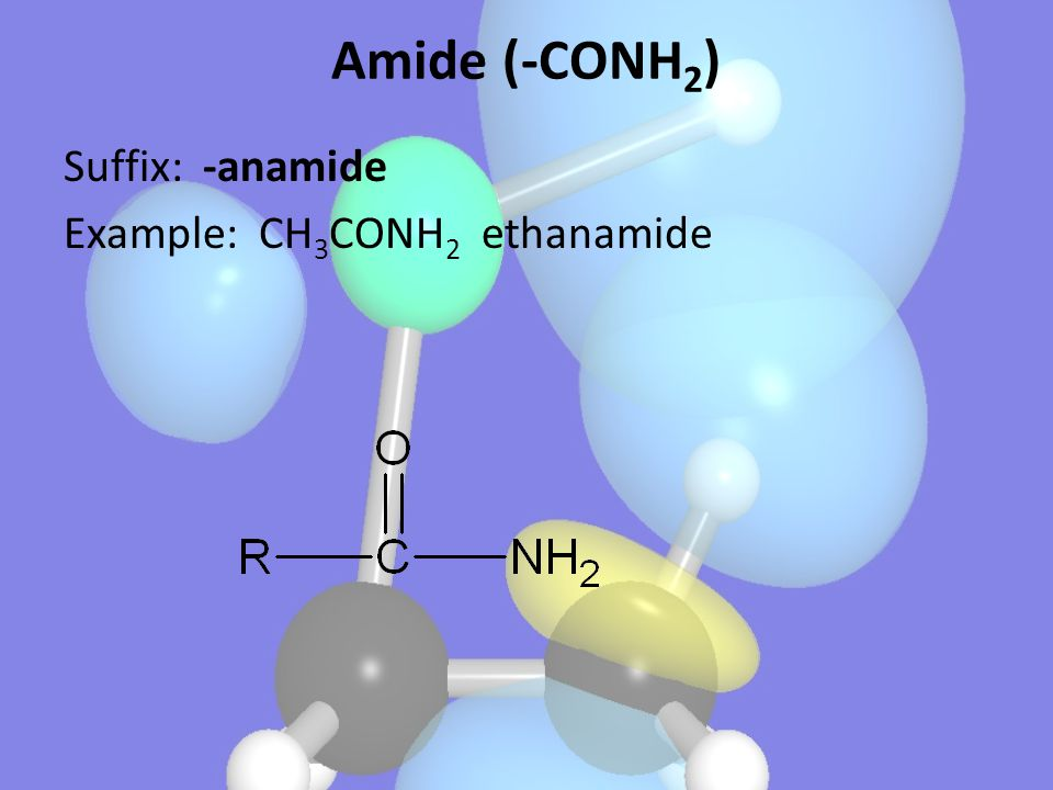 Amide (-CONH2) Suffix: -anamide Example: CH3CONH2 ethanamide