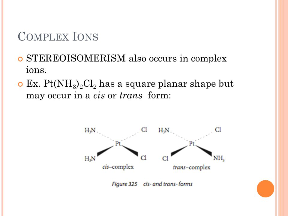 Complex Ions STEREOISOMERISM also occurs in complex ions.