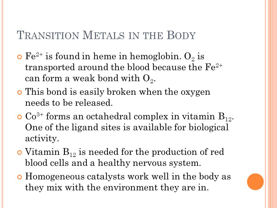 Transition Metals in the Body