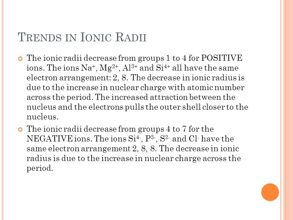 Trends in Ionic Radii