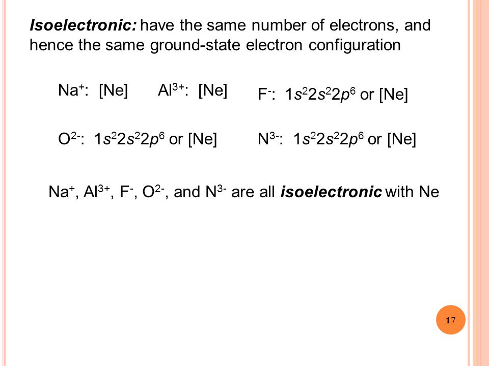 Isoelectronic: have the same number of electrons, and hence the same ground-state electron configuration