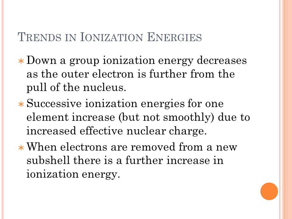 Trends in Ionization Energies