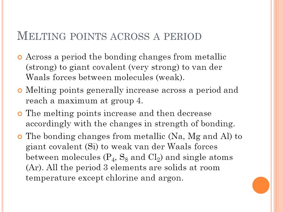 Melting points across a period