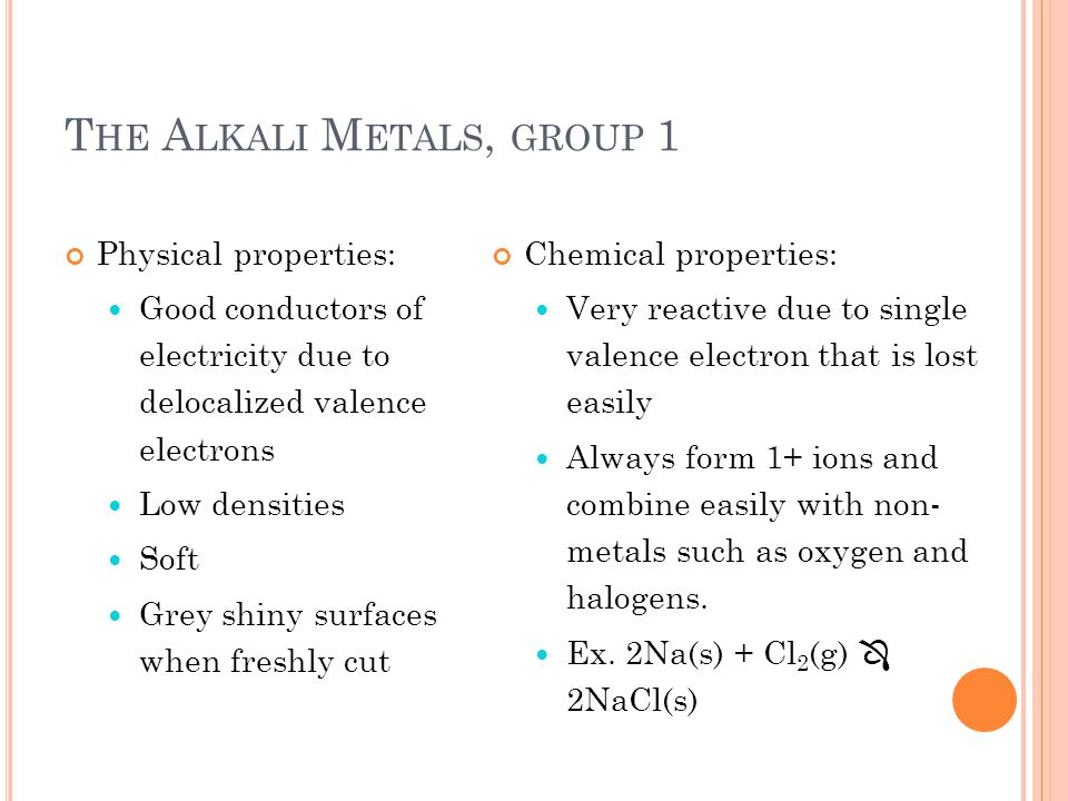 The Alkali Metals, group 1