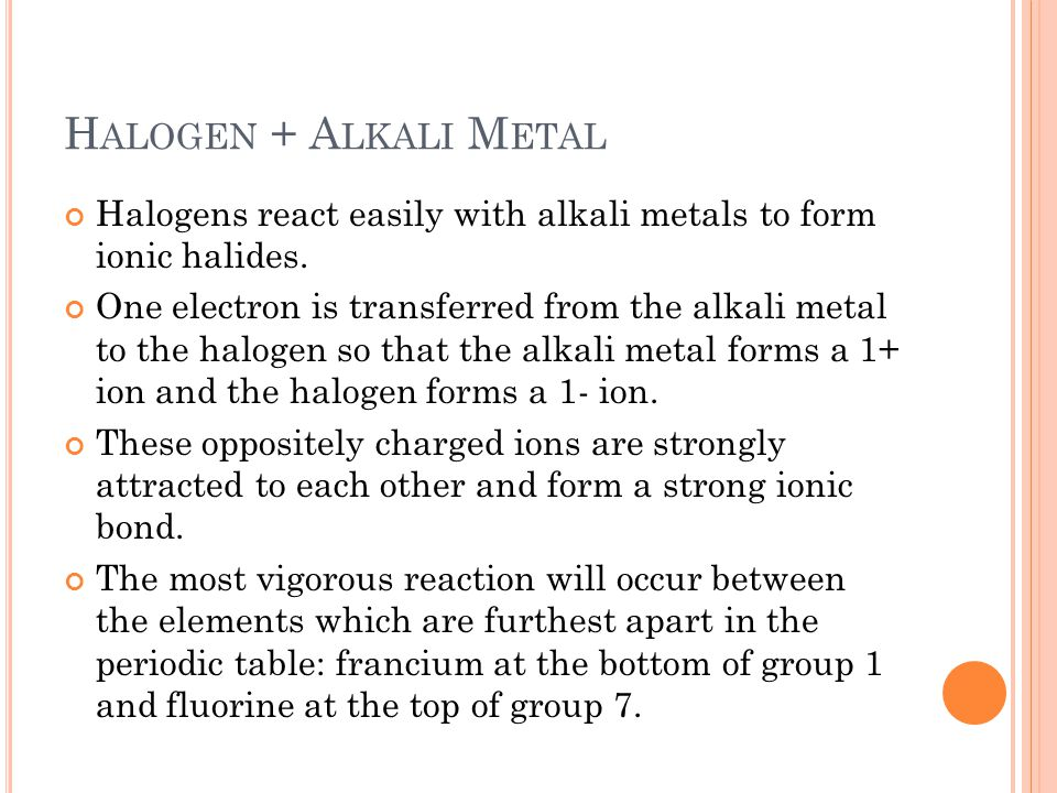 francium and the alkali metals coursework Group 1 of the periodic table of elements consists of hydrogen, and below it the  six alkali metals: lithium, sodium, potassium, rubidium, cesium, and francium.