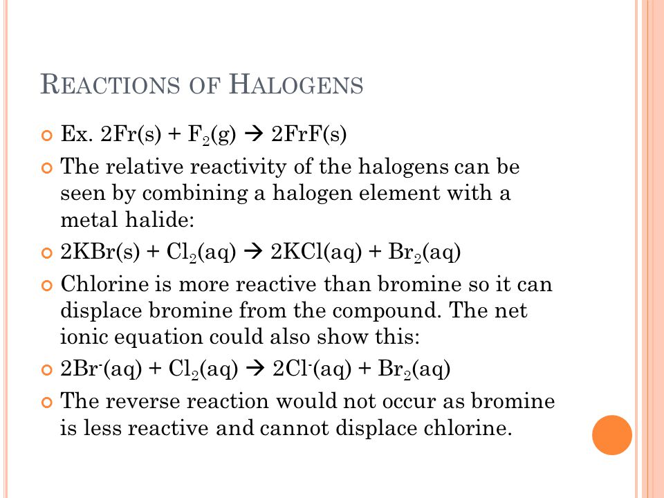 Reactions of Halogens Ex. 2Fr(s) + F2(g)  2FrF(s)