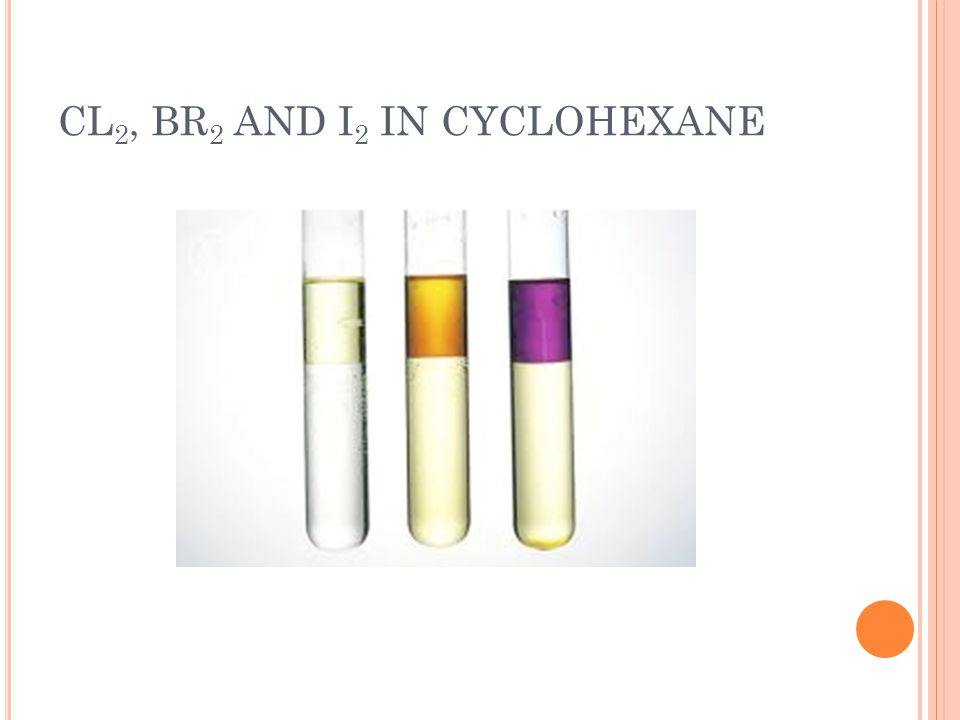 CL2, BR2 AND I2 IN CYCLOHEXANE