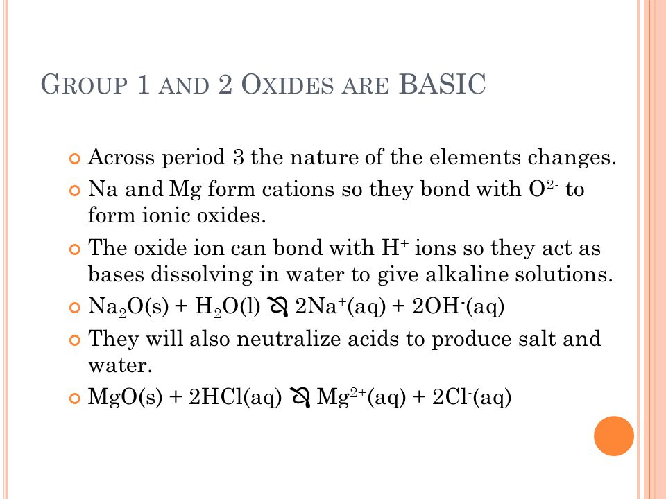 Group 1 and 2 Oxides are BASIC