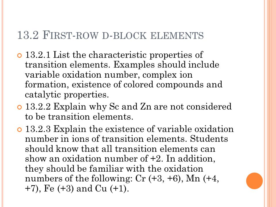 13.2 First-row d-block elements