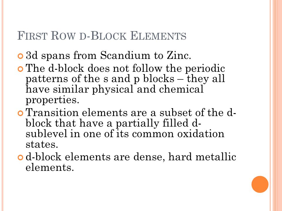 First Row d-Block Elements