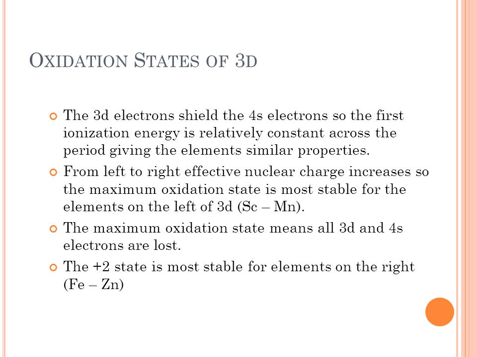 Oxidation States of 3d