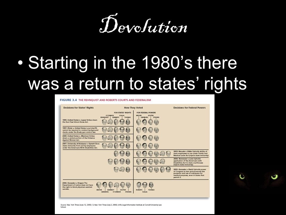 Devolution Starting in the 1980's there was a return to states' rights