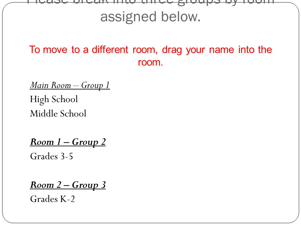 Please break into three groups by room assigned below