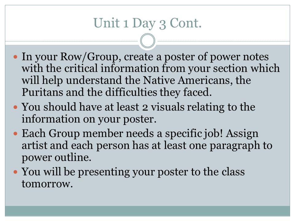 Unit 1 Day 3 Cont.