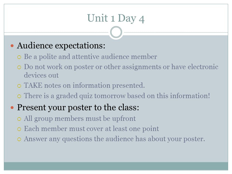 Unit 1 Day 4 Audience expectations: Present your poster to the class: