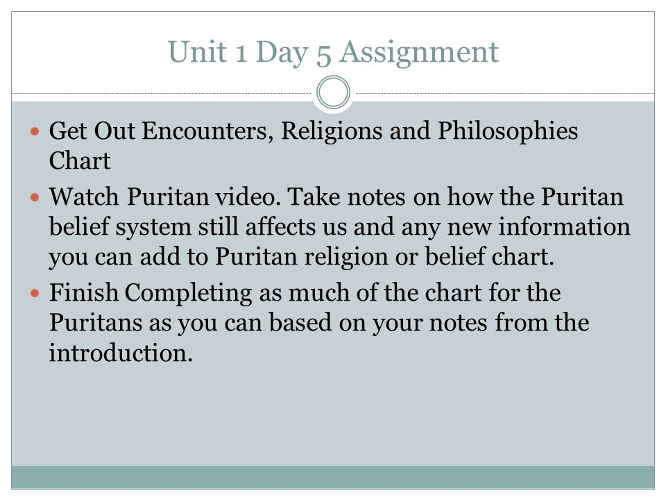 Unit 1 Day 5 Assignment Get Out Encounters, Religions and Philosophies Chart.