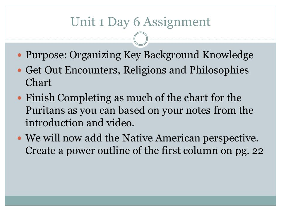 Unit 1 Day 6 Assignment Purpose: Organizing Key Background Knowledge