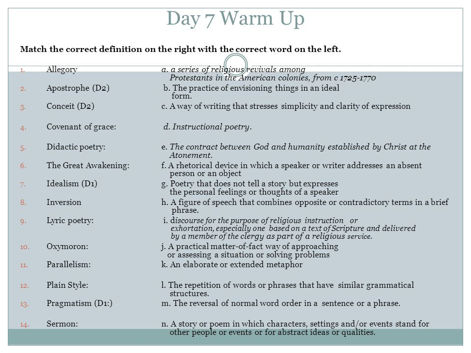 Day 7 Warm Up Match the correct definition on the right with the correct word on the left.