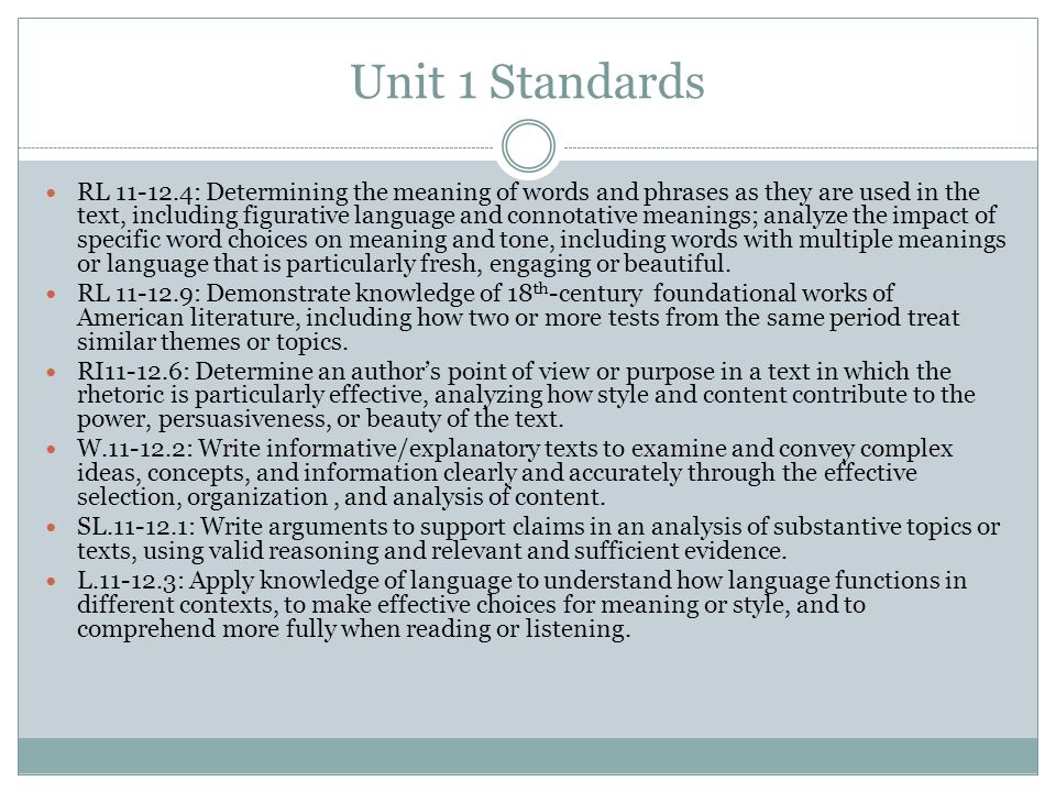 Unit 1 Standards