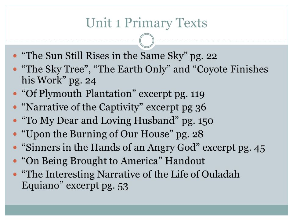 Unit 1 Primary Texts The Sun Still Rises in the Same Sky pg. 22