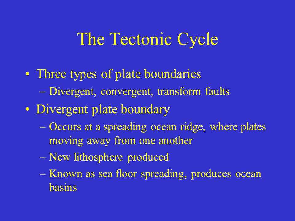 The Tectonic Cycle Three types of plate boundaries